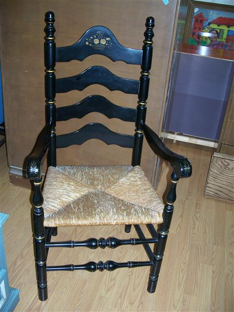 2 Black Rush Seat Chairs By Nicholas & Stone - 2 Black Rush Seat Chairs By Nicholas & Stone - Parkway Drive Antiques