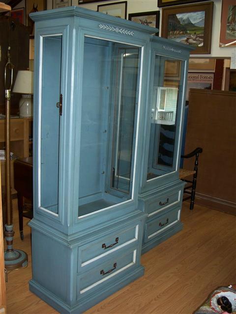 2 Blue Curio Cabinets