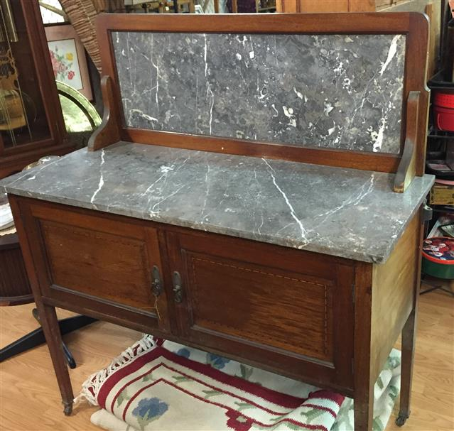 English Wash Stand With Marble Top
