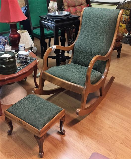 Maple Rocking Chair & Foot Stool - Maple Rocking Chair & Foot Stool - Parkway Drive Antiques