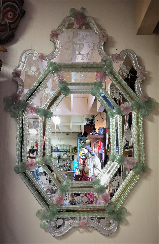 Venetian Murano Glass Mirror Parkway Drive Antiques